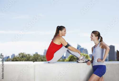 Friends talking after exercise