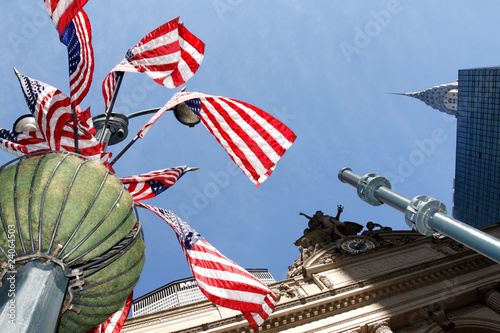 Grand Central with American Flags on 42nd Street in New York Cit