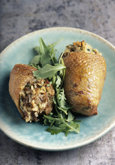 duck neck stuffed with risotto and rocket