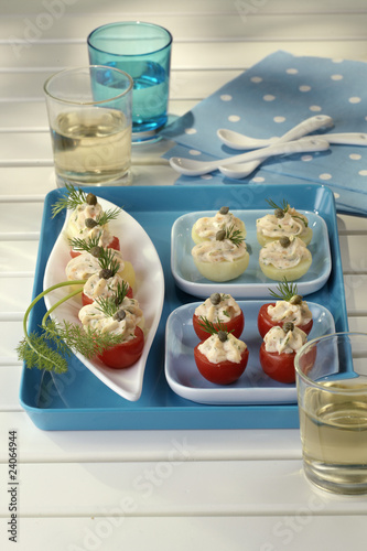 tomatoes filled with salmon cream
