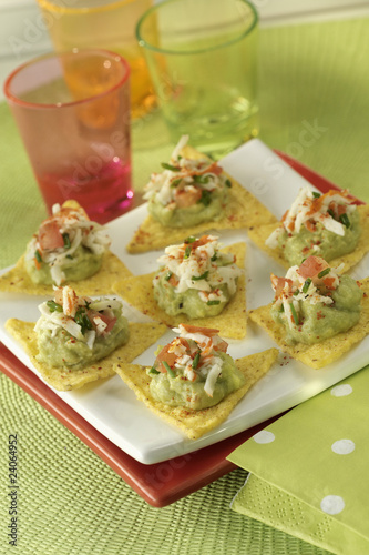 tacos with guacamole and surimi crab