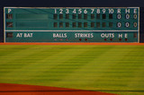 retro baseball scoreboard with blank Home and Visitor space poster