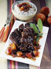 caramelized spare ribs with apricot chutney