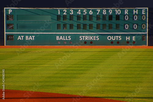 canvas print picture retro baseball scoreboard with blank Home and Visitor space