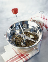 mixing the lentils with a puree maker