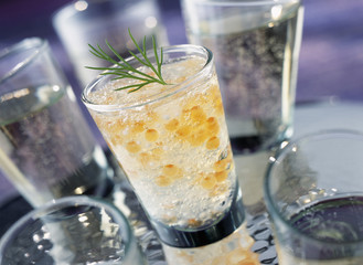 verrine of salmon roe and tapioca pearls in jelly