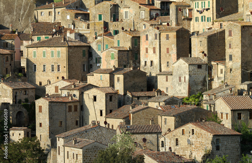 Houses on cliff, Sorano small town in Tuscany, Italy
