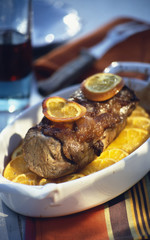 braised young wild boar with citrus fruit