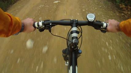 Mountain Bike being ridden along rural track