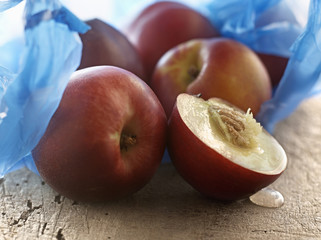 nectarines and plastic bag