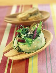 sauteed seitan and seaweed salad