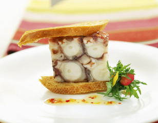 octopus and vegetable sandwich with begonia french dressing