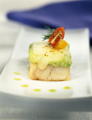 grouper with majorero cheese and pureed avocado au gratin