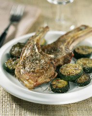 lamb chops with thyme and courgettes