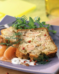 fresh and smoked salmon,dill and pink peppercorn terrine