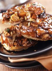 caramelized nut, raisin and dried fruit tatin tart
