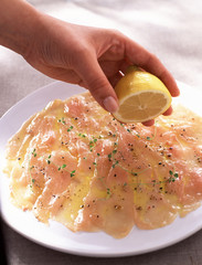 chicken carpaccio with lemon