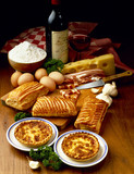 quiche and savory puff pastry rolls