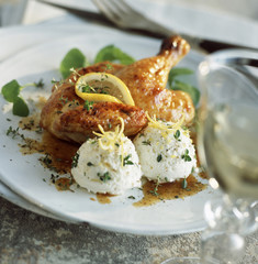 young roast chicken with lemon mousse and lemon thyme