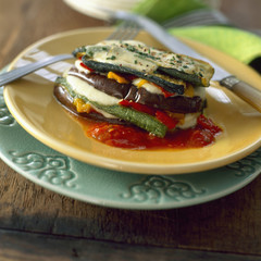 vegetable and mozzarella mille-feuille
