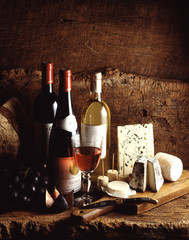 cheeses and wines