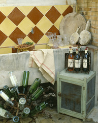 bandol kitchen and bottles of wine