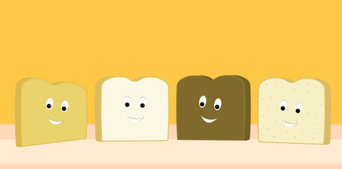 Bread slices happy together