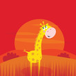 roleta: Safari animals - cute giraffe and red sunset scene behind