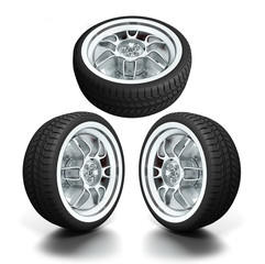 Isolated wheels on white background.