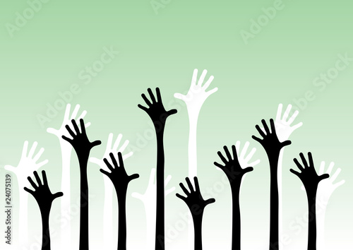 Vector illustration of hands reaching into the air.