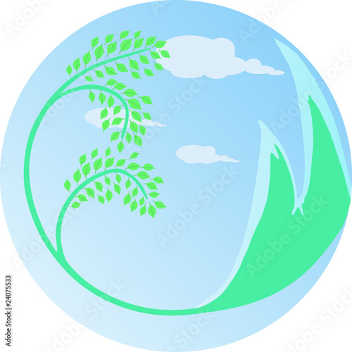 Green tree and mountains