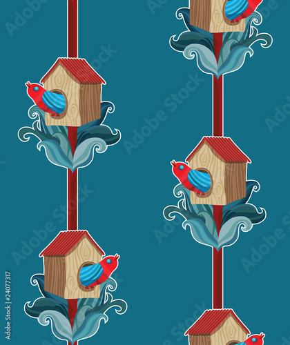 vector seamless pattern with bird in starling-house