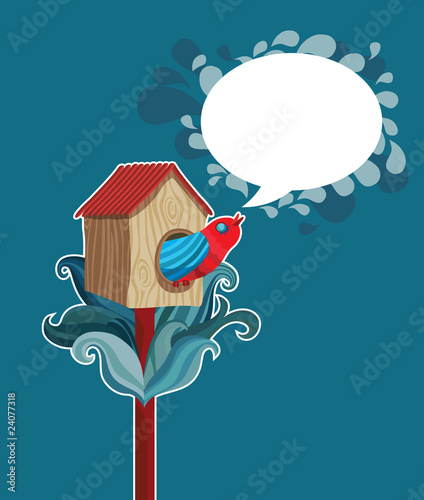 vector starling-house with talking bird