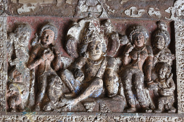 Buddha life scenes at Ajanta, famous cave temple complex,India