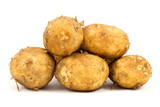 pile of fresh potatoes , isolated on white background