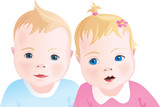 Two cute babies - boy and girl. Vector illustration.