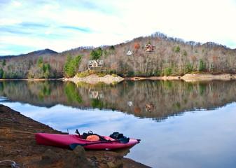 Kayak on the Lake in Winter
