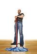 caucasian cleaner on wood floor