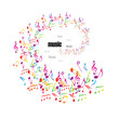 Colorful music background with clefs