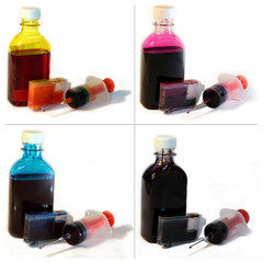 Poured into the ink cartridge with a syringe