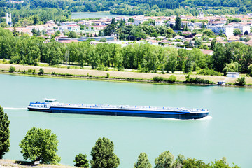 cargo ship on the Rhone River,Rhone-Alpes, France