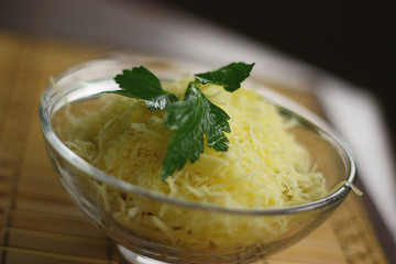 Delicious salade with eggs, parsley and cheese.