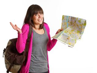 Ahnungslose Touristin mit Karte in der Hand
