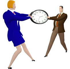 Business people compete or help strectch time clock