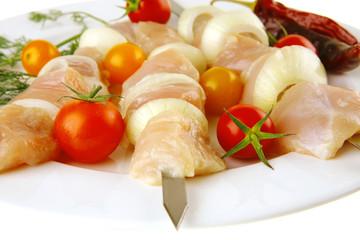 fresh raw shish kebab