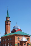 mosque on a background blue sky in the Perm region, Russia poster