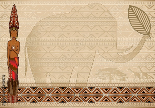 Donna Africana Sfondo-African Woman Background-Vector