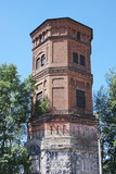 an age-old tower is in the Perm region, Russia poster