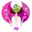 Health and spa: girl enjoying aromatherapy. VECTOR
