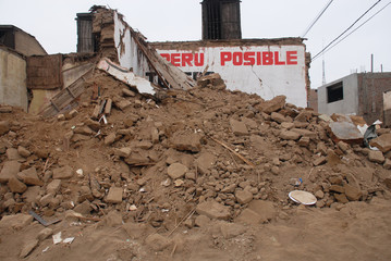 Earthquake in Peru: destroyed house